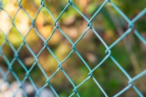 Wire fence with green grass on background